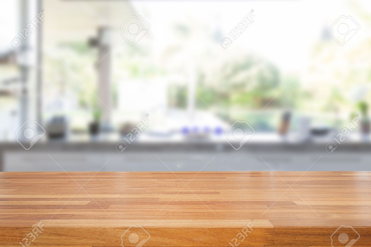 Empty wood table and blurred living room background stock photo - Empty Wooden Table And Blurred Kitchen Background Product Montage Display Stock Photo 43686894