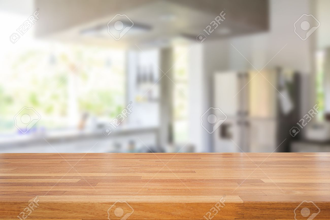 Empty wood table and blurred living room background stock photo - Empty Wooden Table And Blurred Kitchen Background Product Montage Display Stock Photo 43686897