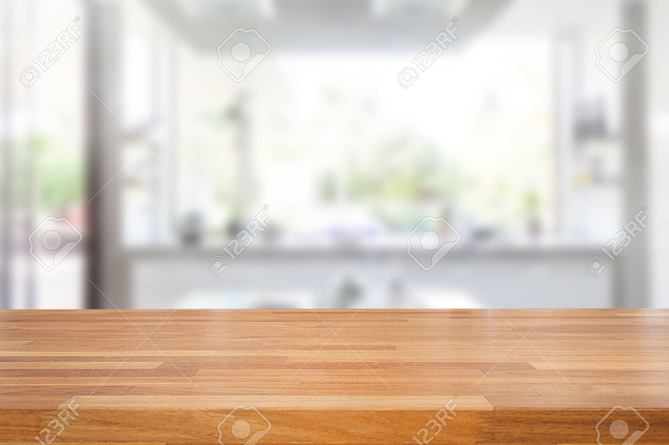 Empty wooden table and blurred kitchen background, product montage display - 54242802