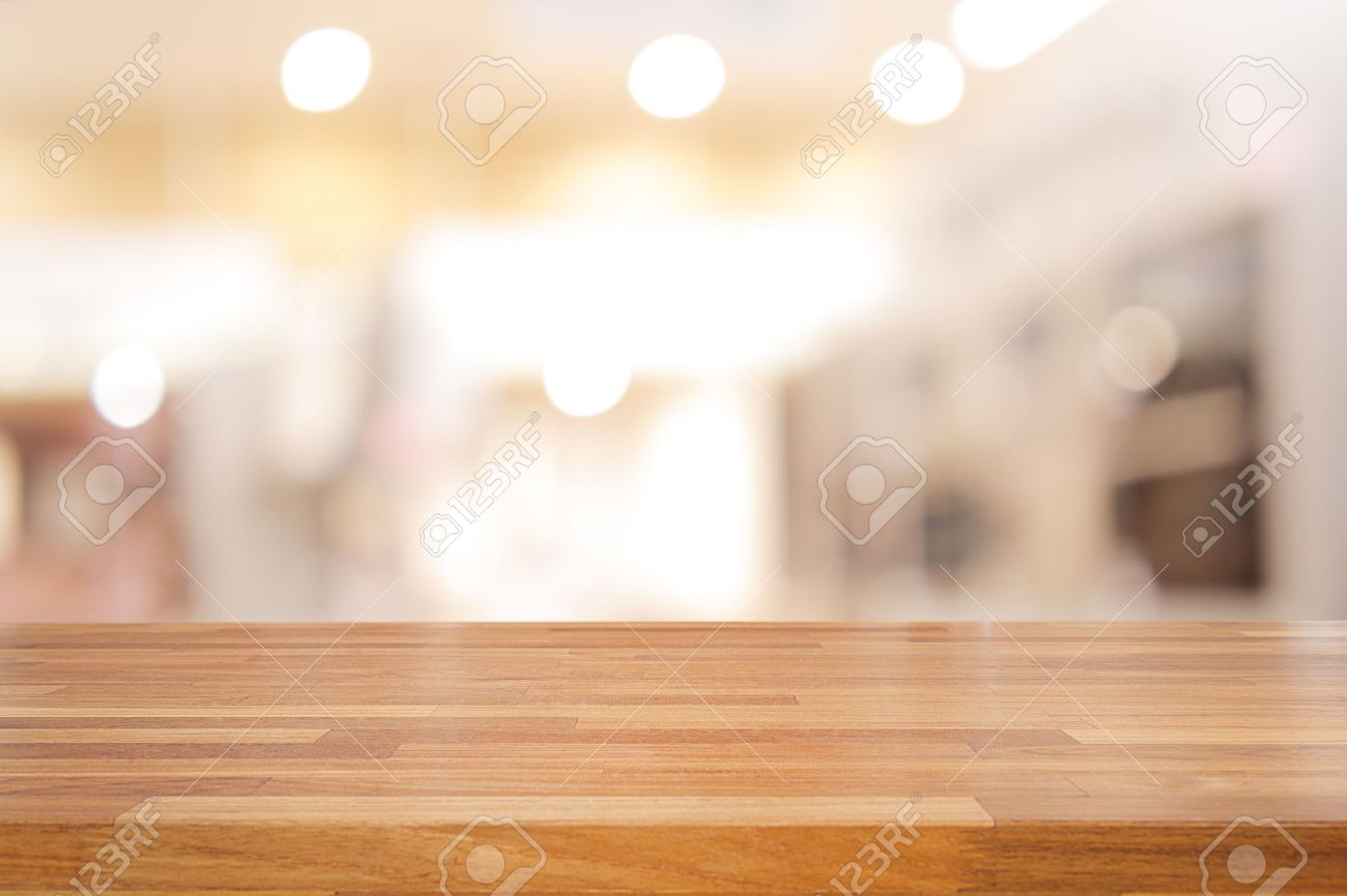 Empty wooden table and interior background, product display,blurred store with bokeh - 54242805