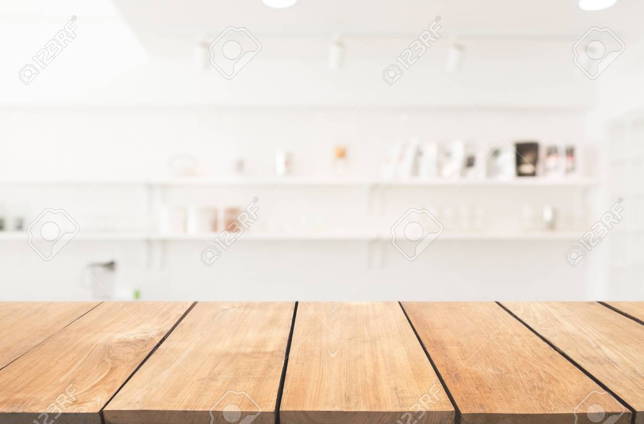 Empty Wooden Table And Modern Kitchen Background With Shelf