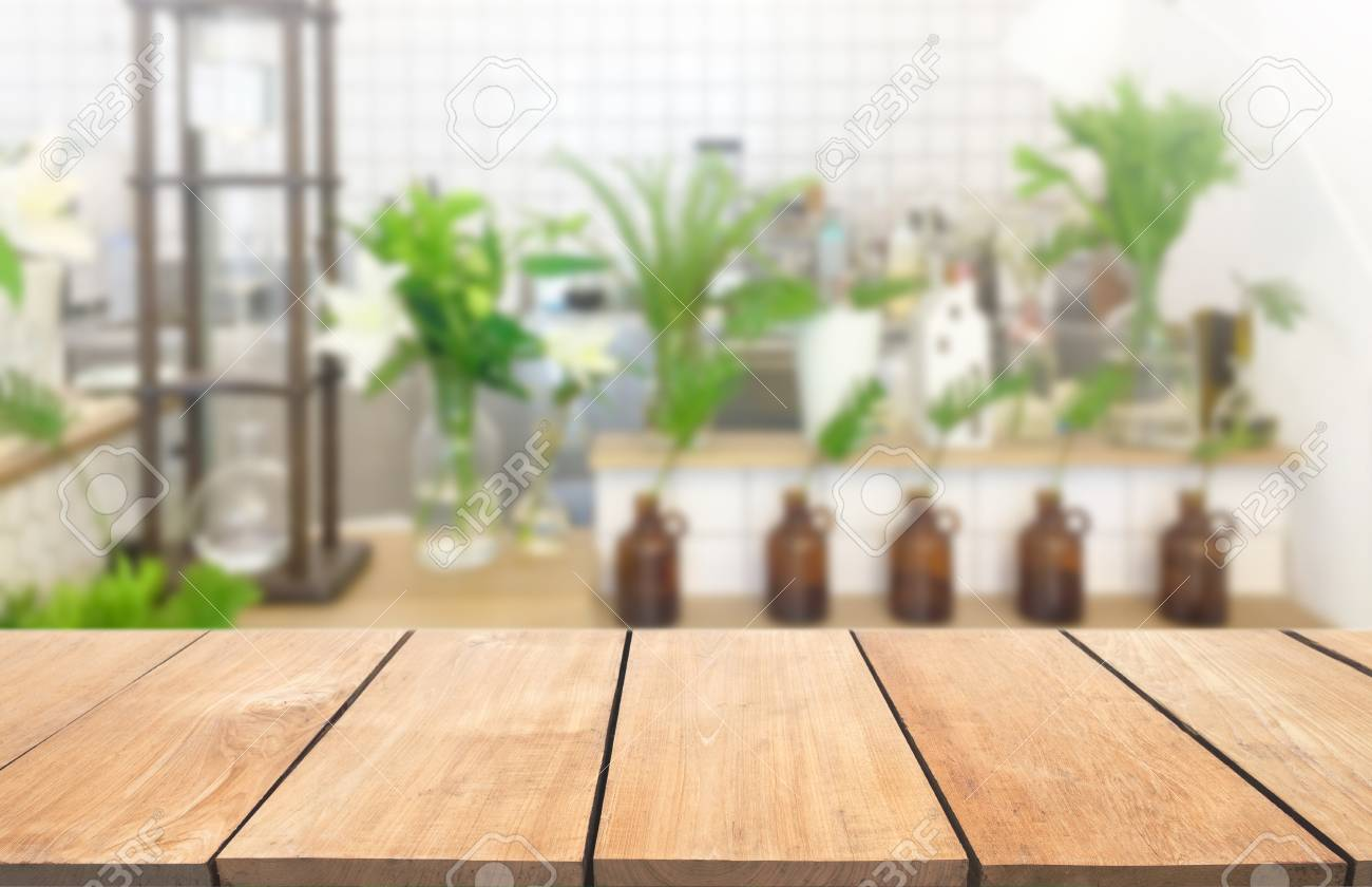 Empty Wooden Table And Modern Kitchen Background Nature Tree Stock Photo