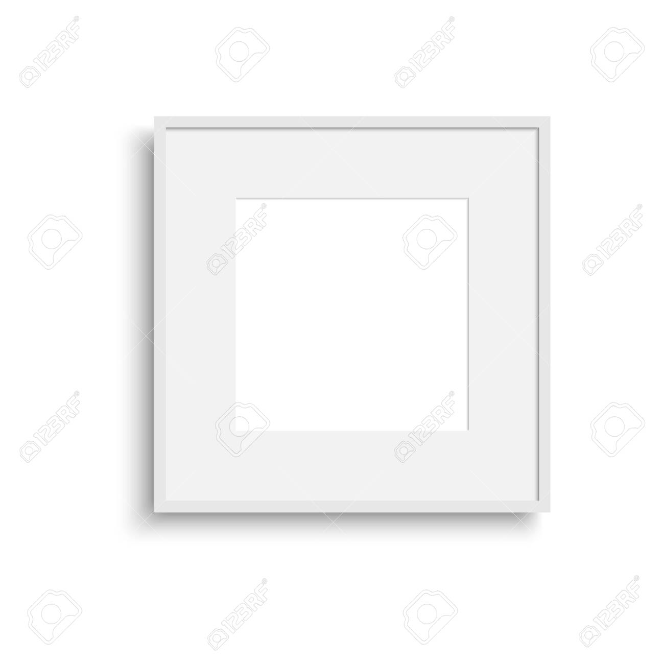 Realistic thin photo frame with soft shadow. Vector. - 150055493