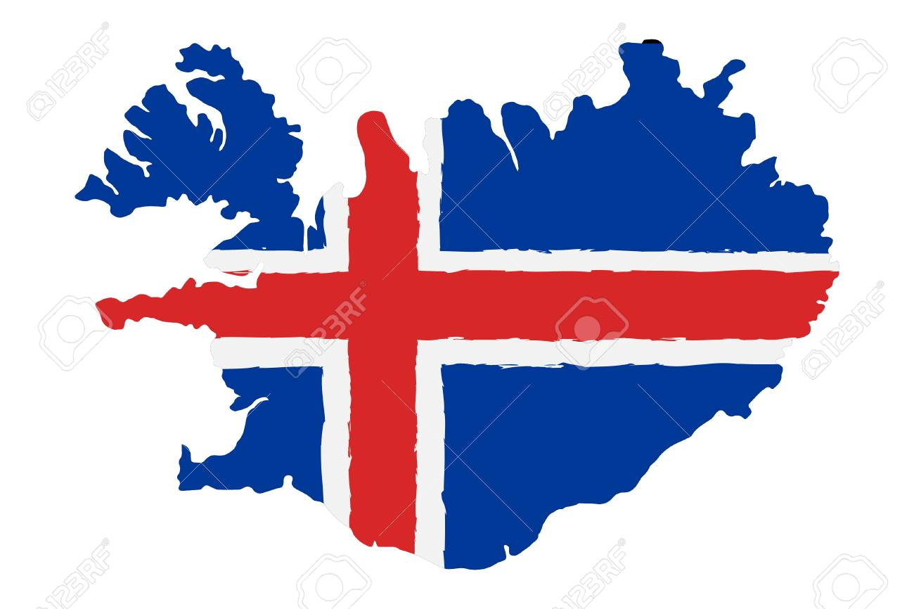 Map of Iceland with Flag. Hand Painted with Brush. Vector Illustration. - 90661255