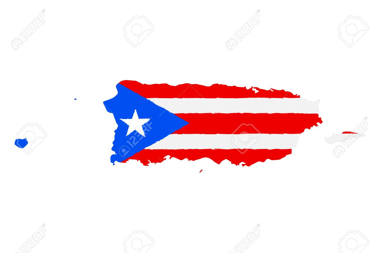 Map Of Puerto Rico With Flag Hand Painted With Brush Vector
