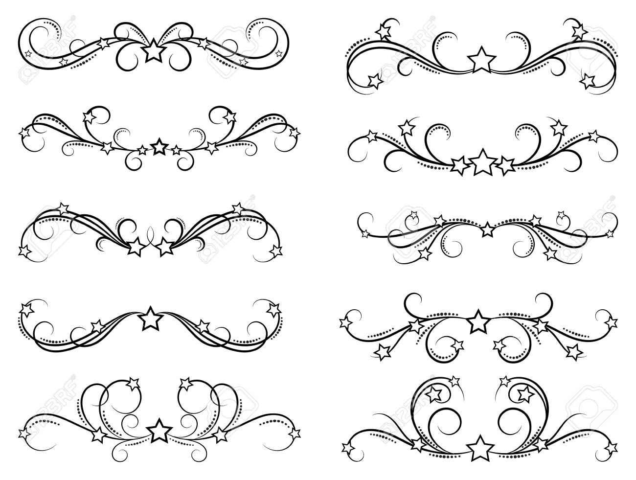 Dividers With Stars Decorative Design Border Elements For Frames Royalty Free Cliparts Vectors And Stock Illustration Image 92572667