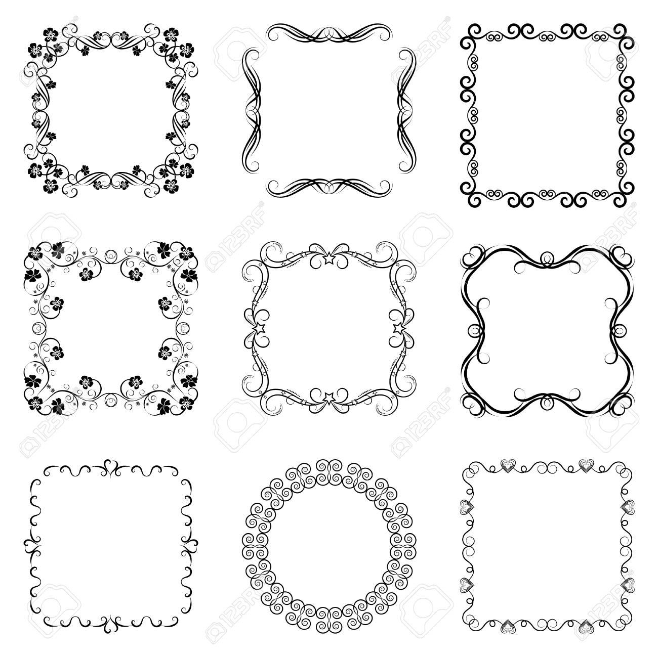 Vintage Swirl Frame Set. Abstract Black And White Ornate Frames ...