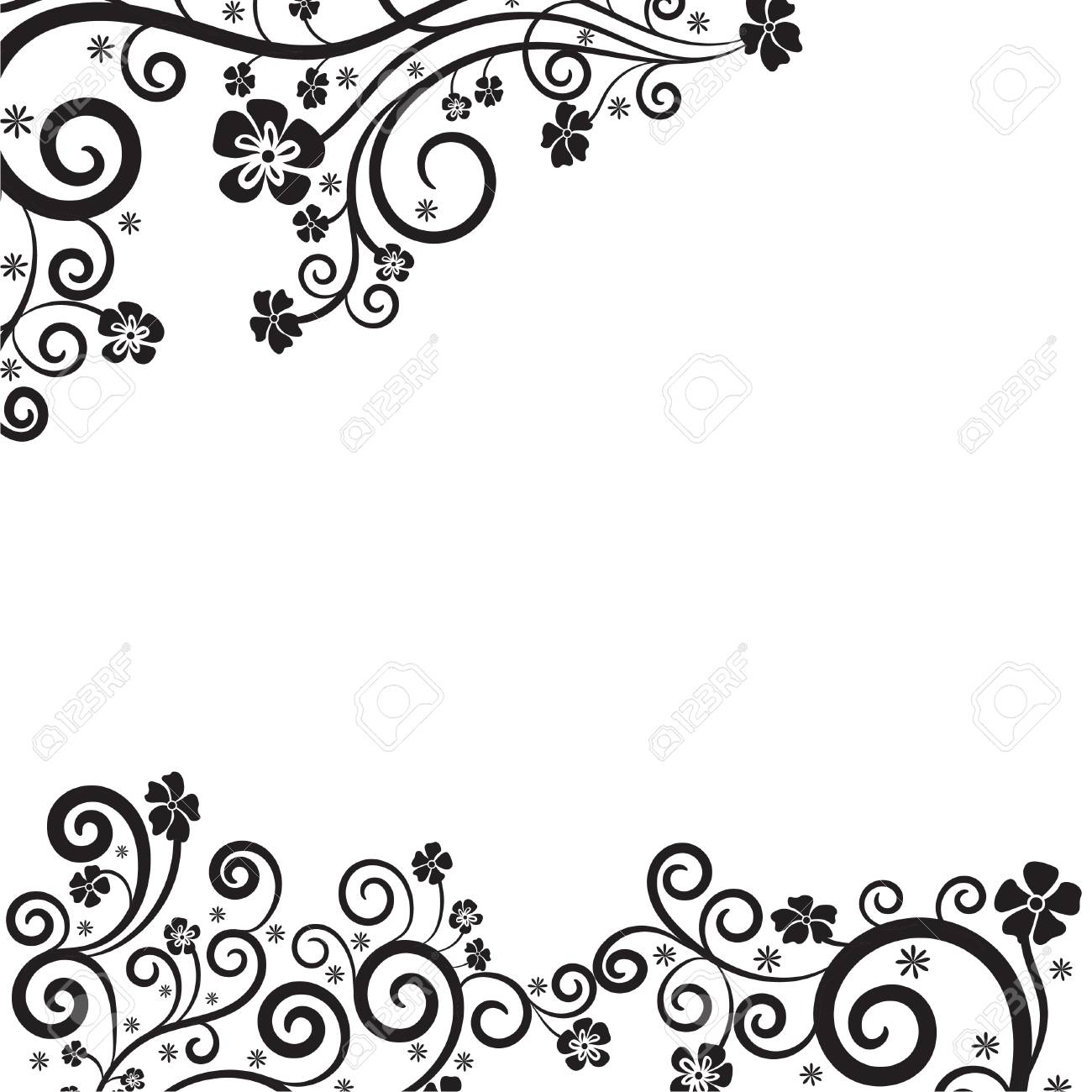 Vintage Floral Decorative Background With Calligraphic Swirls ...