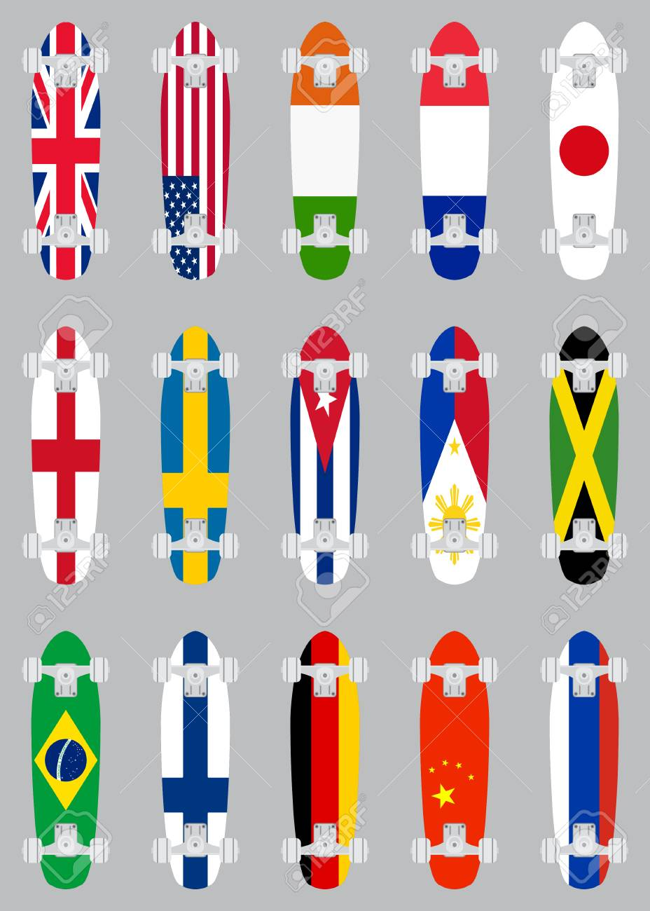 Skateboards with various flags objects flat design set  Colorful
