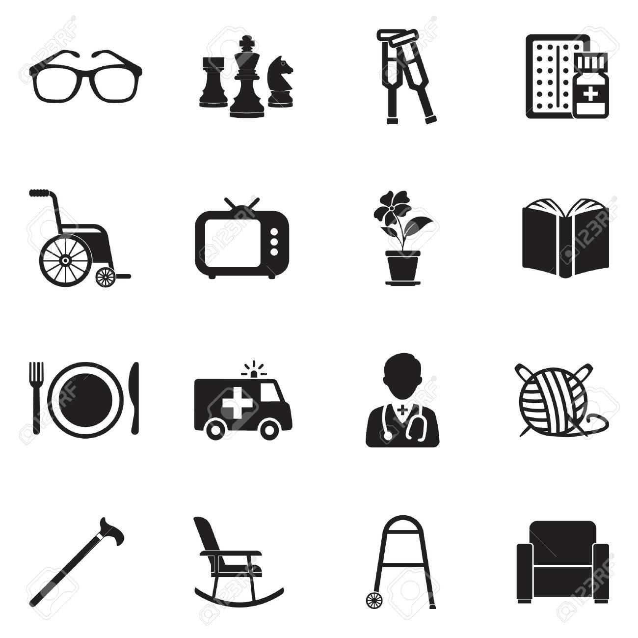 Nursing Home Icon Set. Black Flat Design Vector Illustration ...