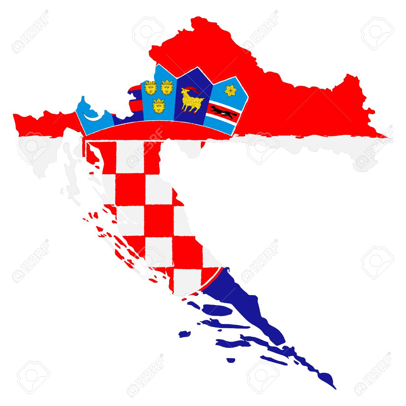 Map Of Croatia With Flag Hand Painted With Brush Vector
