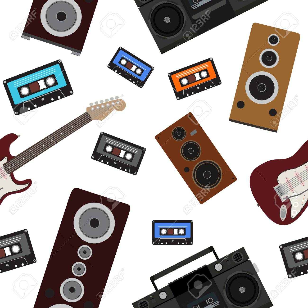 80s music seamless pattern  Background with loudspeakers, guitar,