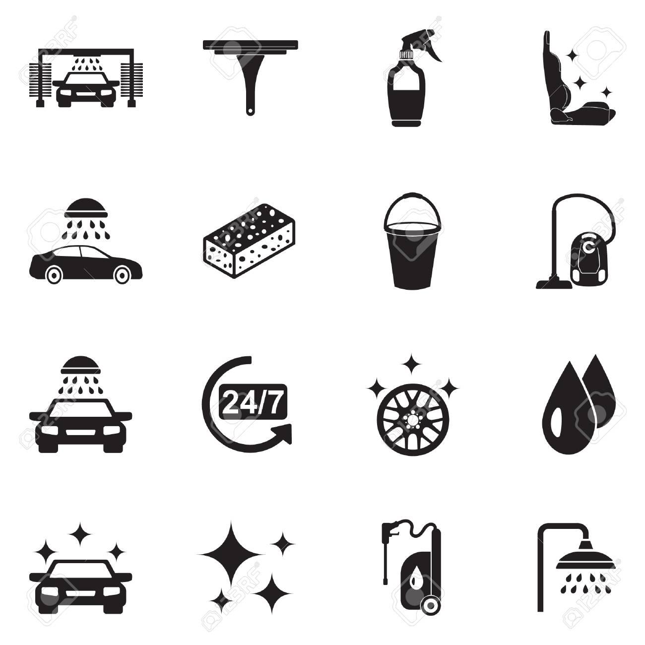 Car Wash Icons. Black Flat Design. Vector Illustration. - 106209638