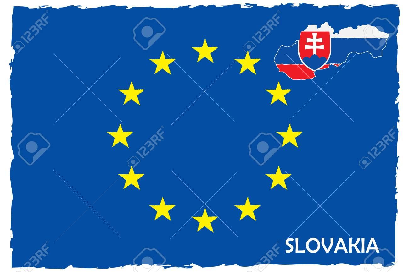 e8b7a9ade6 European Union Flag   Slovakia Map With Flag. EU Member. Hand Painted with  Brush