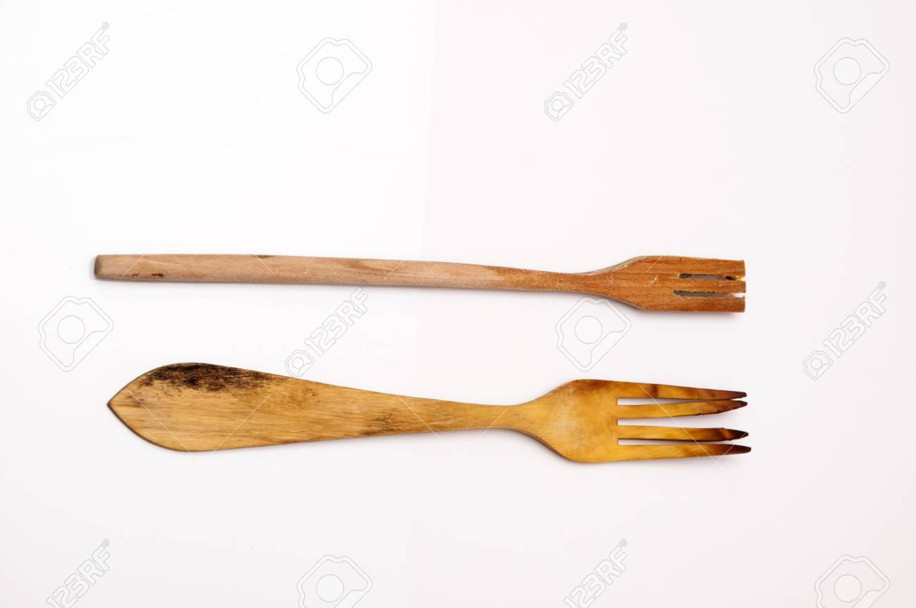 Wooden Kitchenware Where Spoons, Forks, Etc ... Stock Photo, Picture ...