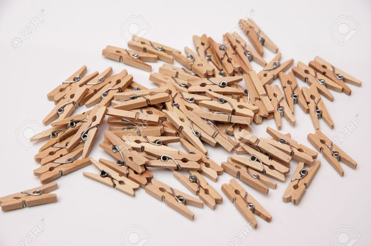 Small Wooden Clamps To Attach Several Sheets Of Paper Stock Photo Picture And Royalty Free Image Image 16928233