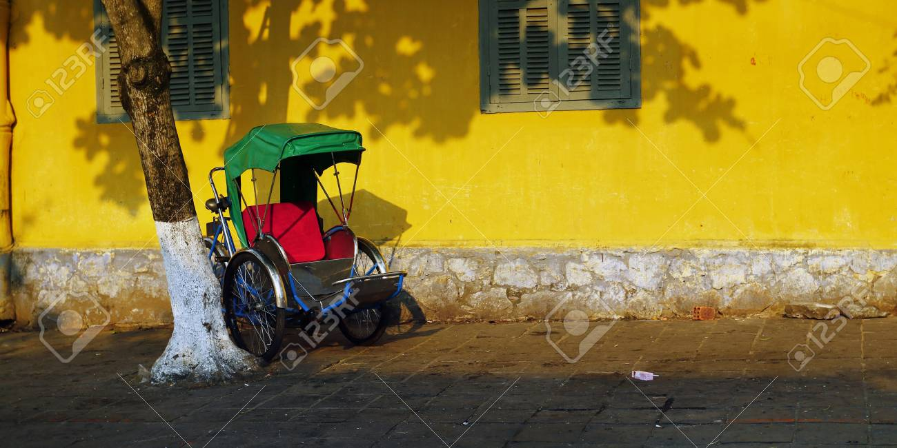Tricycle In The Streets Of Hoi An Vietnam Stock Photo, Picture And ...