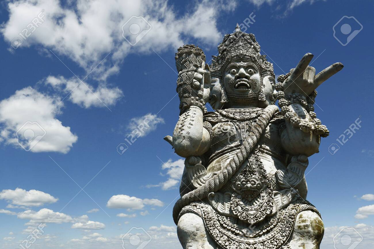 Stone carved statue of Barong in Hindu temple in Bali-Indonesia - 126033231