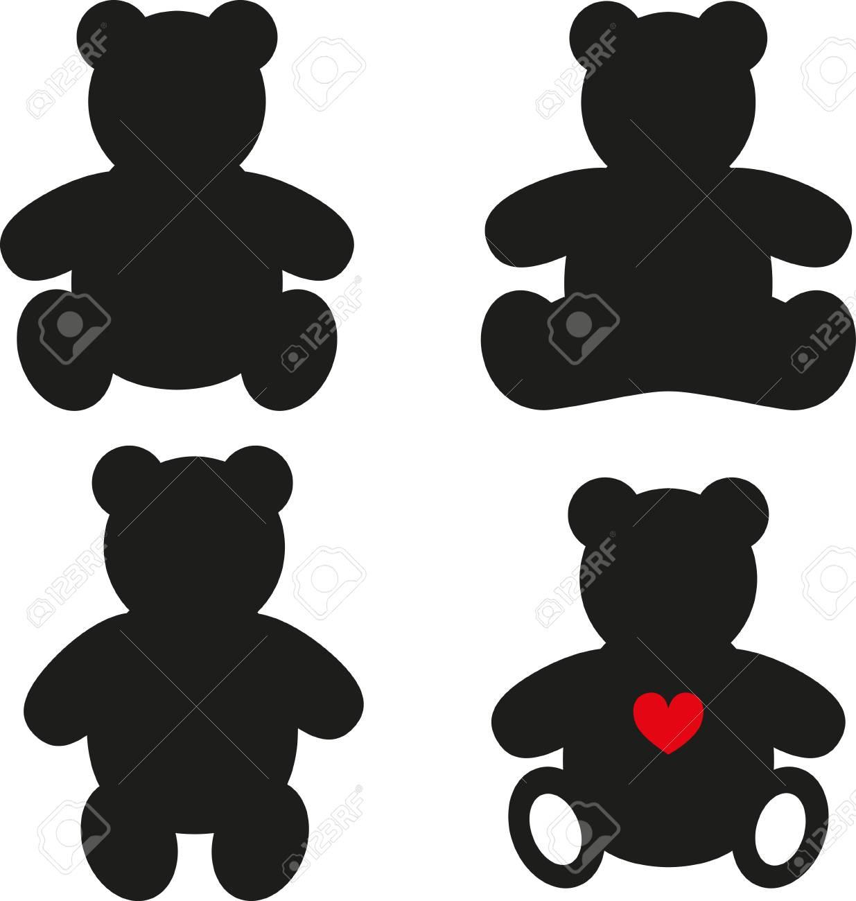 simple silhouettes of teddy bear vector illustration on white rh 123rf com teddy bear vector free download teddy bear vector black and white