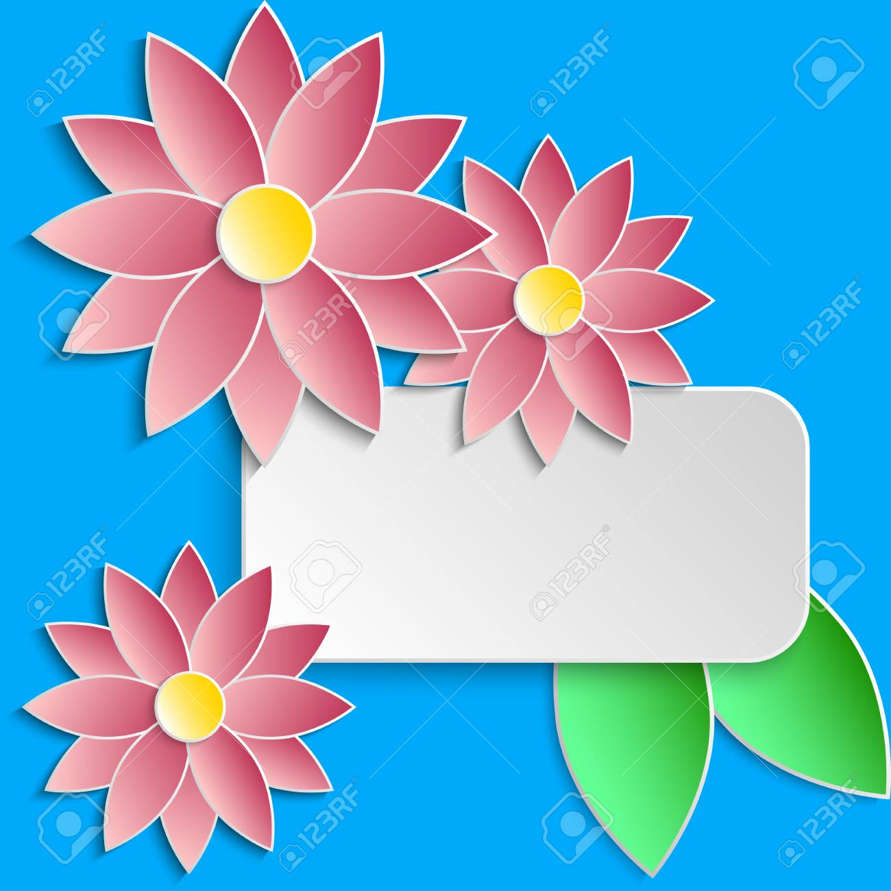 Greeting Card Template With Paper Water Lily Flowers. Vector ...