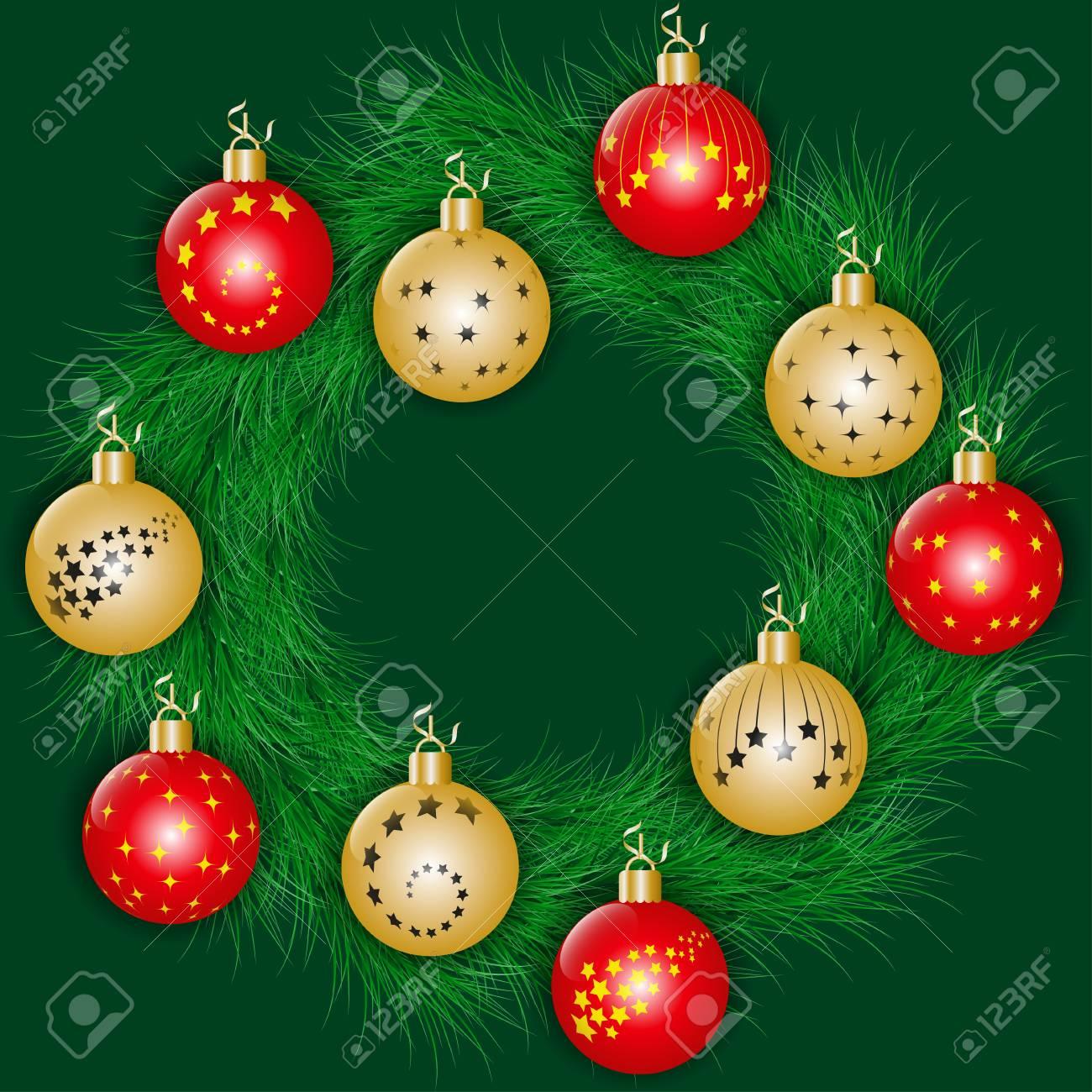 9903e2e09e7 Corona de Navidad decorado bolas de Navidad rojas y doradas y cintas  doradas. Ilustración vectorial