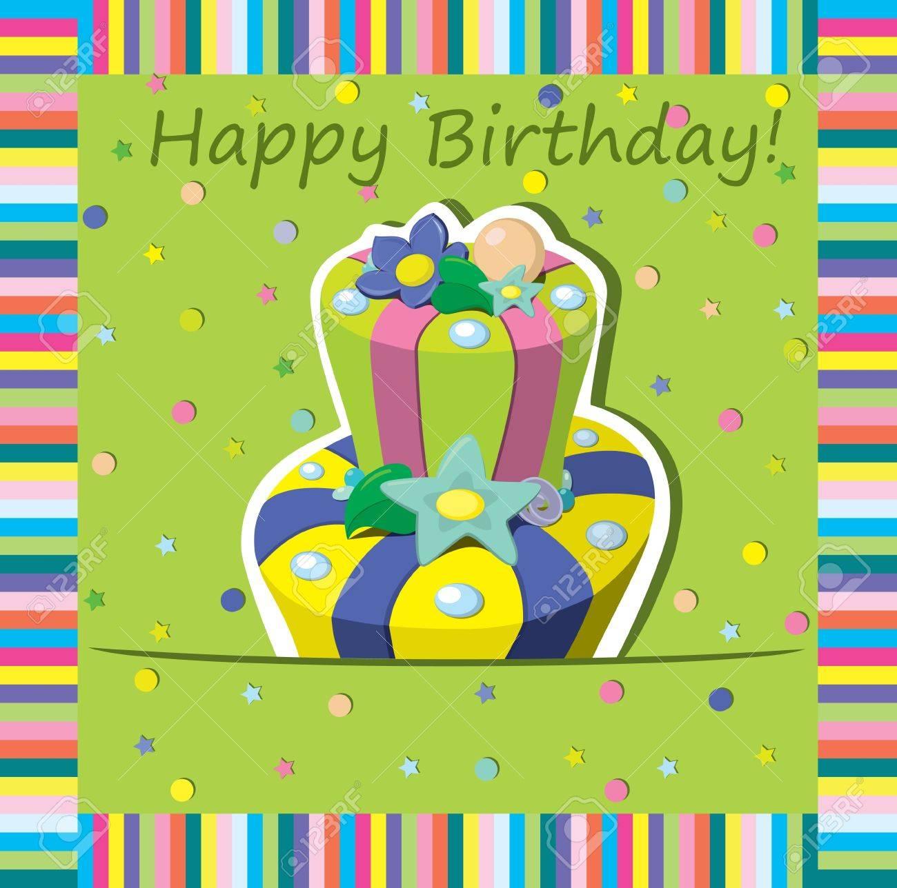 Vector birthday cake   Greeting Card Stock Vector - 13230294