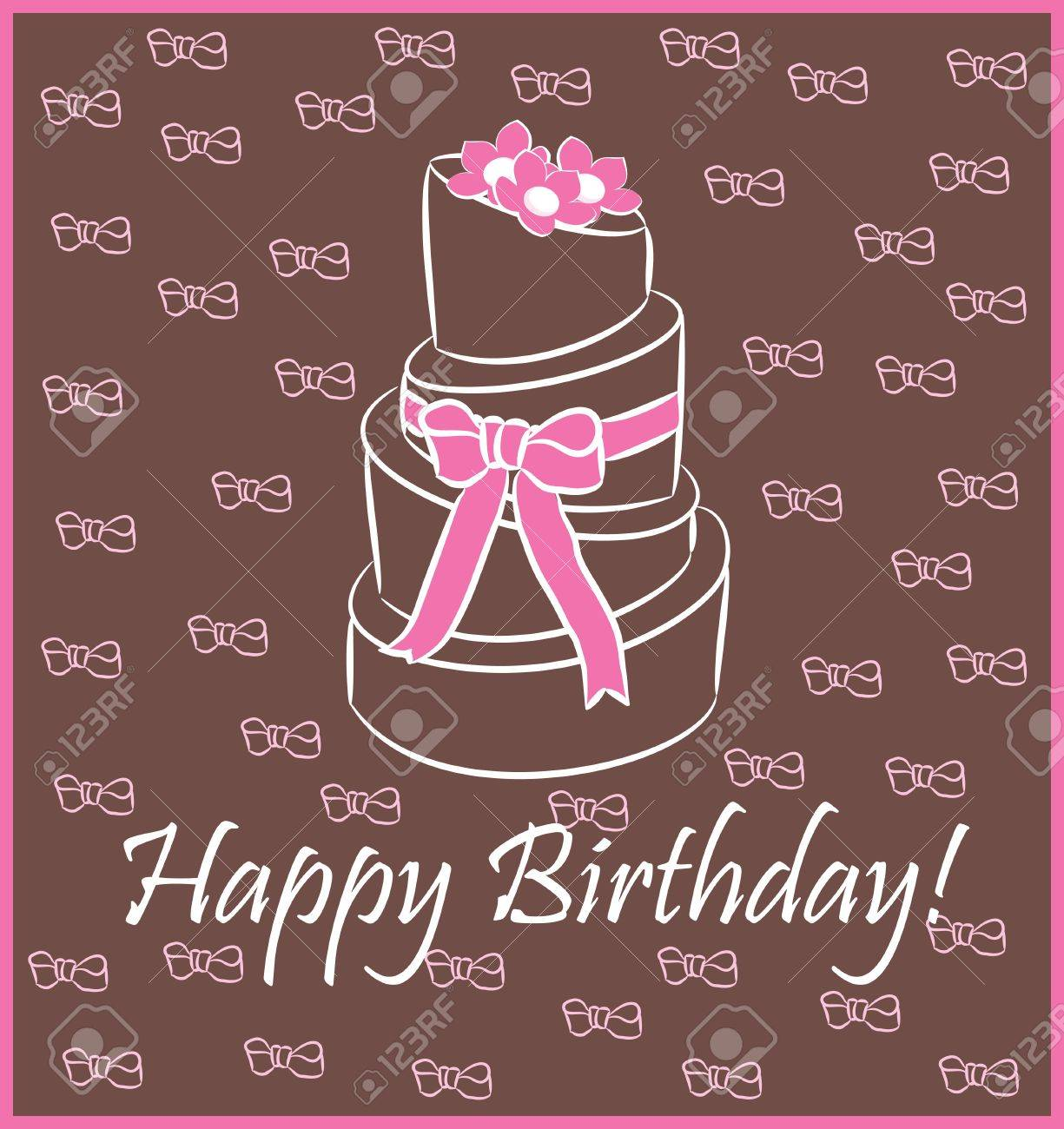 birthday cake   Greeting Card Stock Vector - 13282281