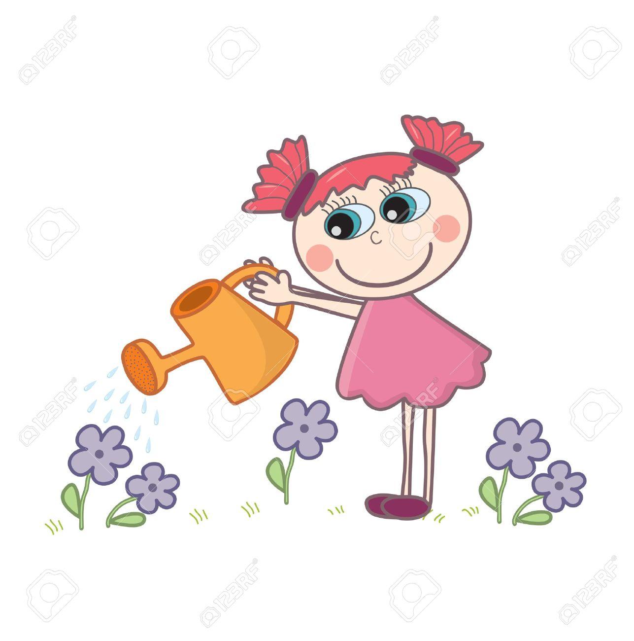 A little cartoon girl watering flowers Stock Vector - 15330224