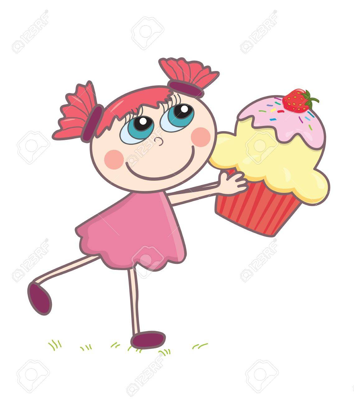 Little girl with a cupcake Stock Vector - 15330222