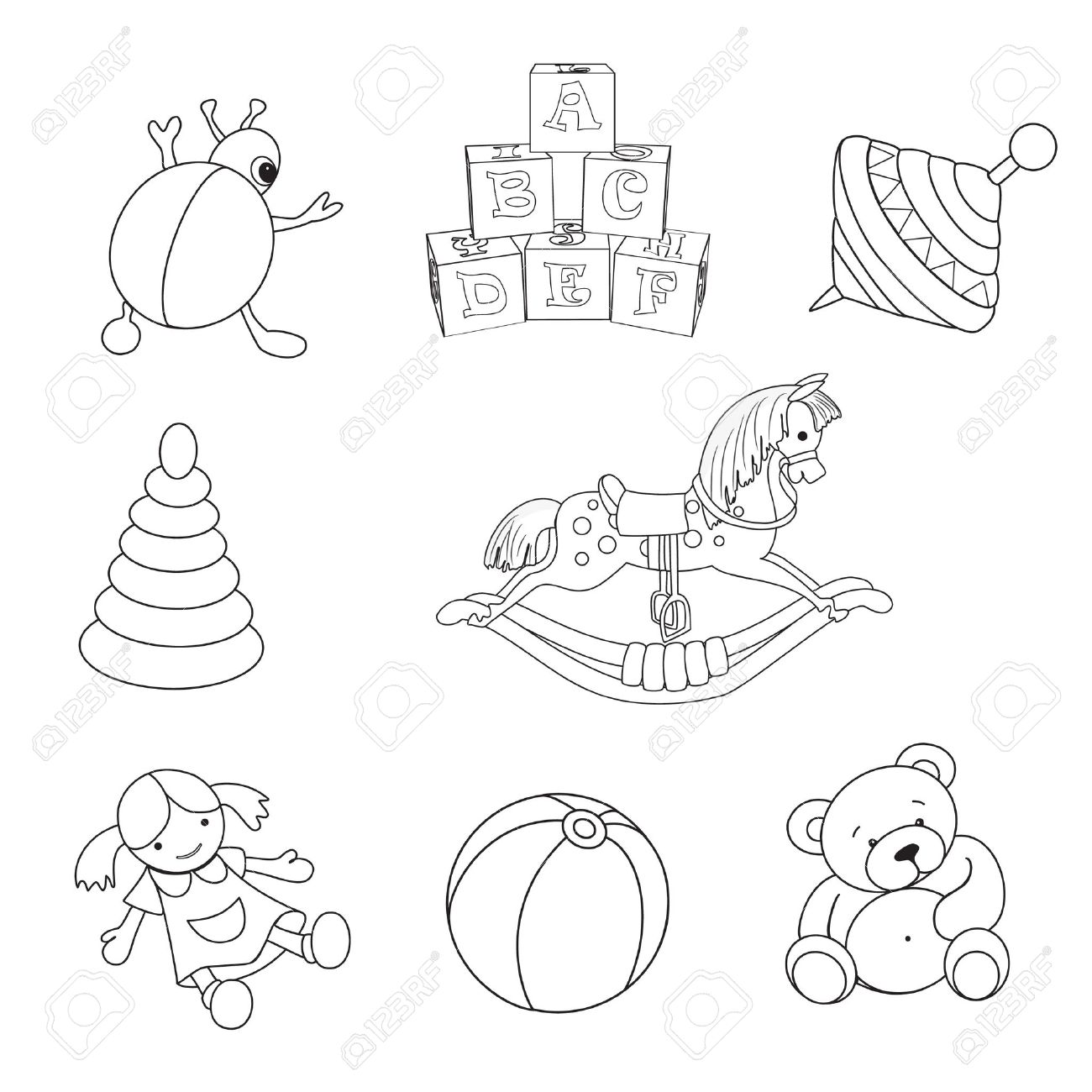 Set Of Outlined Baby S Toys Elements Royalty Free Cliparts Vectors