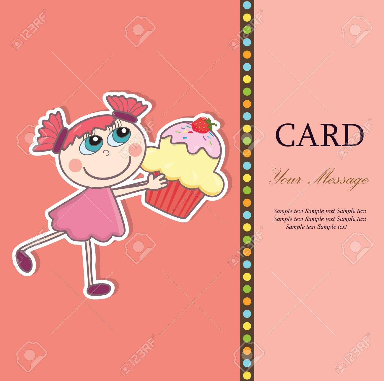 Little girl with a cupcake  Greeting card  illustration Stock Vector - 15385467