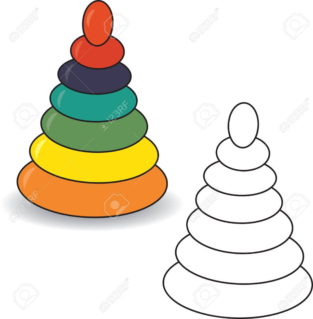 Coloring book  Pyramid  illustration  Baby toy Stock Vector - 15385403