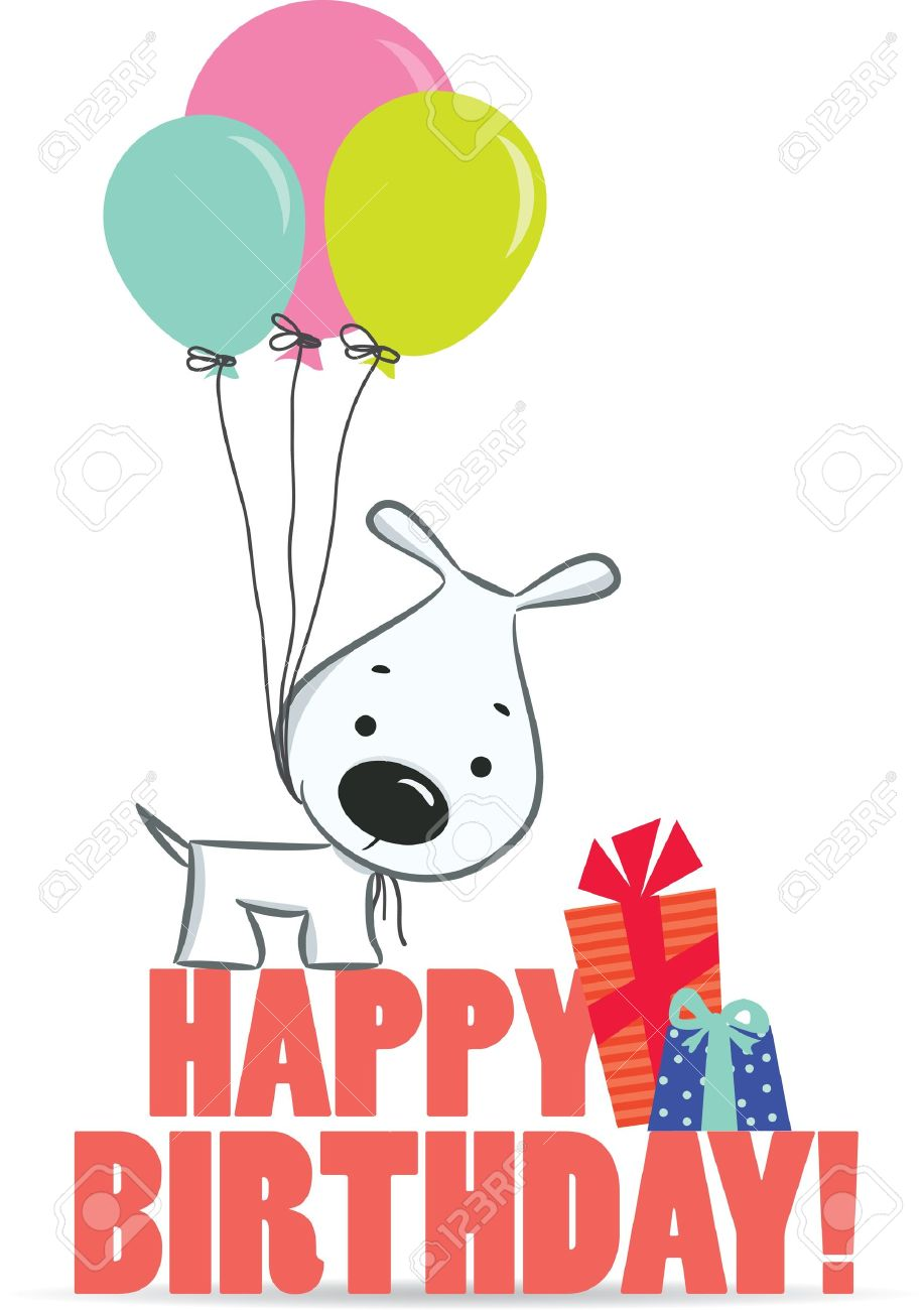 Cute Cartoon Dog With Balloons A Birthday Greeting Vector Illustration The Background Stock
