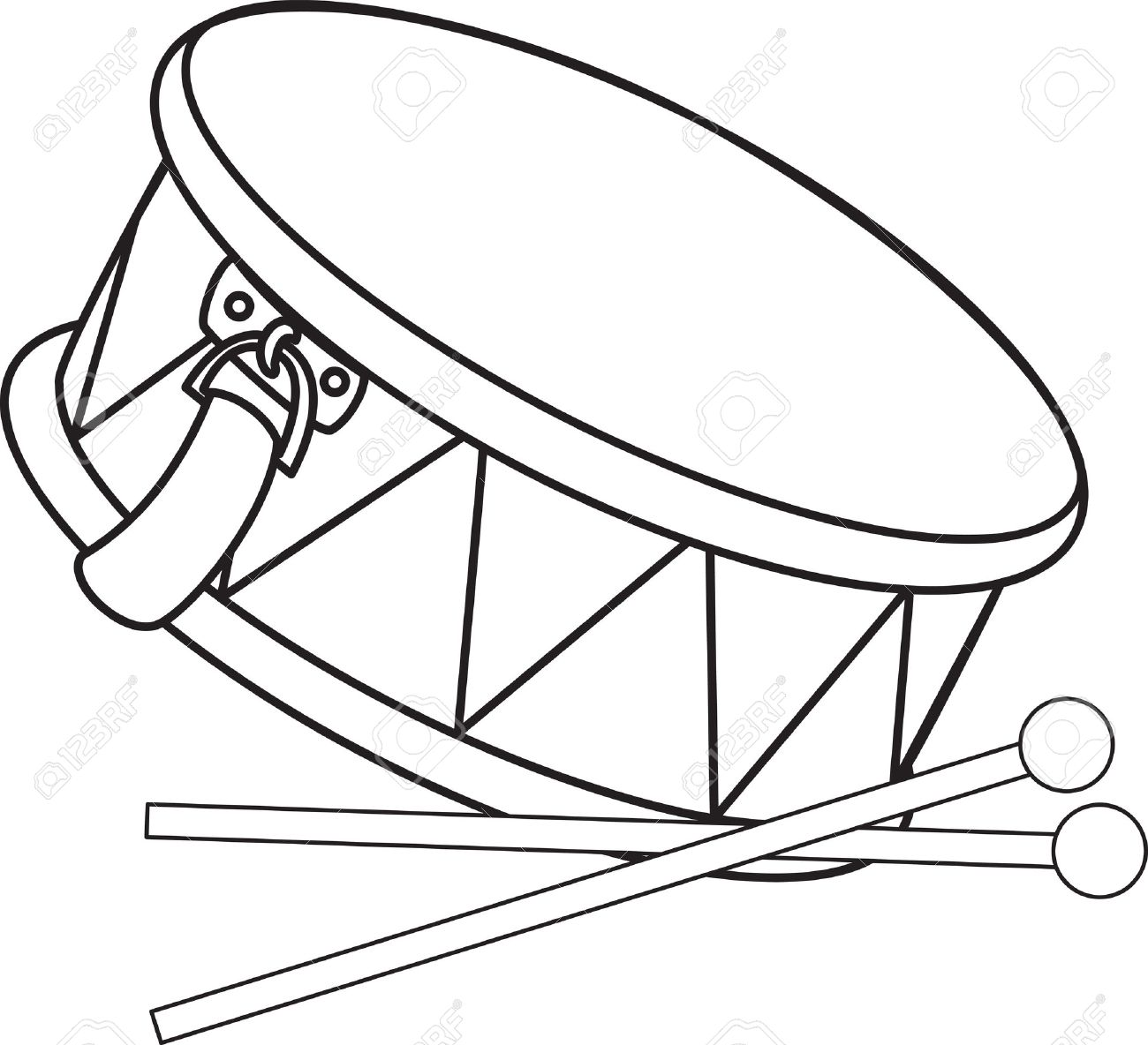 Coloring pictures drums - Toy Drum And Drumsticks Stock Vector 15462813