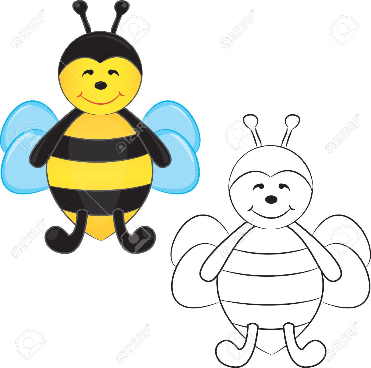 Cute Cartoon Bee. Coloring Book. Royalty Free Cliparts, Vectors, And ...