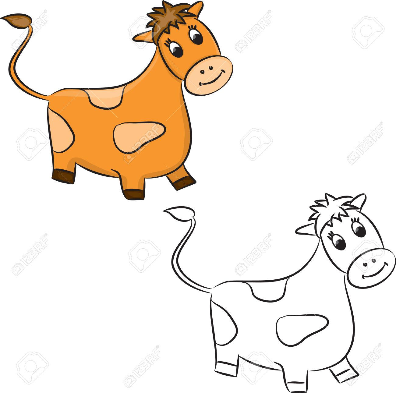 Cartoon cow. Coloring book. Stock Vector - 15655818