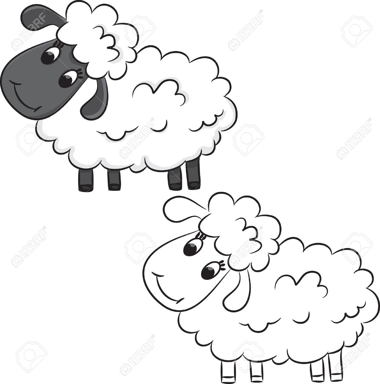 Cartoon Sheep Coloring Book Royalty Free Klipartlar Vektor