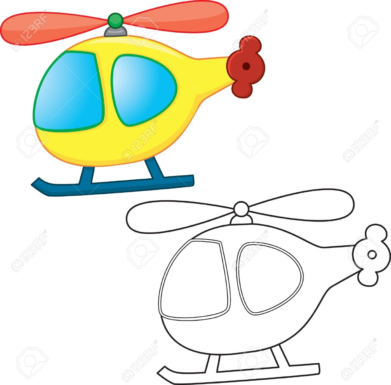 Toy Helicopter Coloring Book Royalty Free Klipartlar Vektör