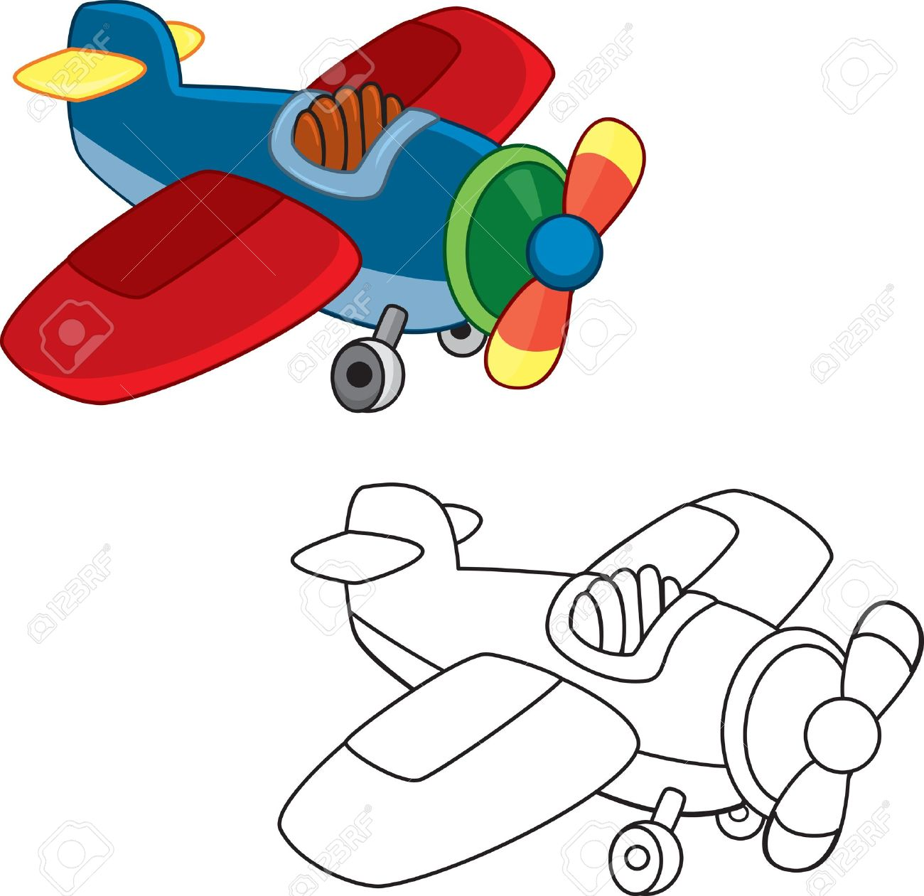 toy plane coloring book royalty free cliparts vectors and stock