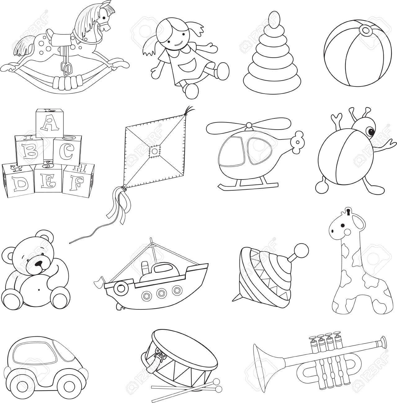 Colorear Bebé S Juguetes Ilustración De Libros