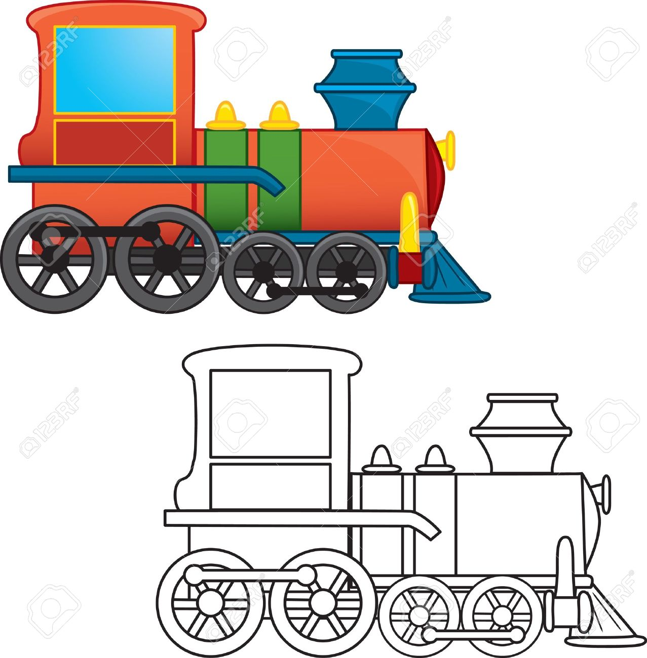 Train Toy Coloring Book Royalty Free Cliparts, Vectors, And Stock ...