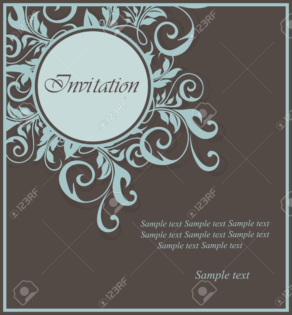 Beautiful floral invitation card. Stock Vector - 16023739