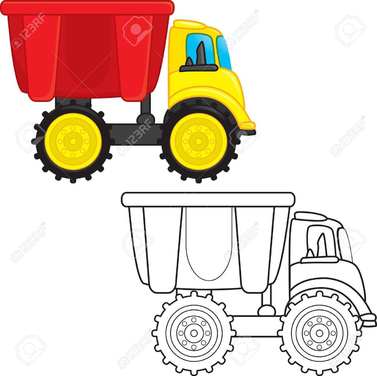 Garbage truck coloring book - Dump Truck Toy Coloring Book Vector Illustration Stock Vector 16023731