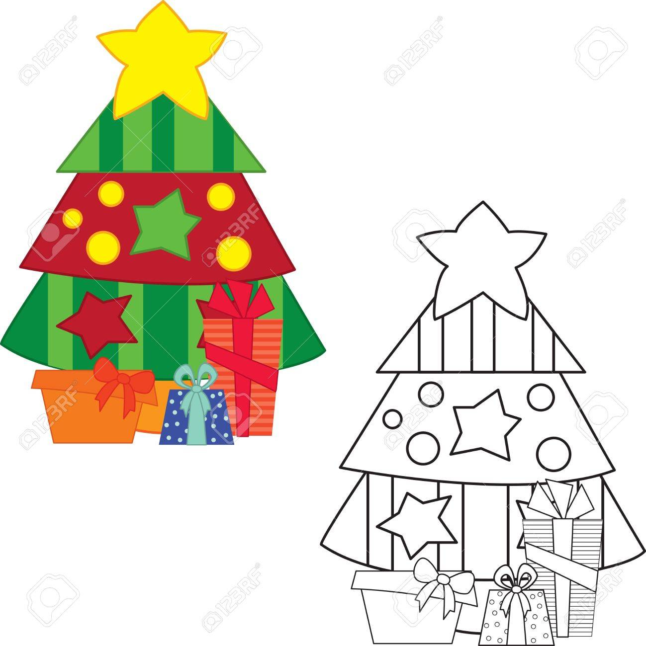 Christmas tree with gifts. Coloring book. Vector illustration Stock Vector - 16023674