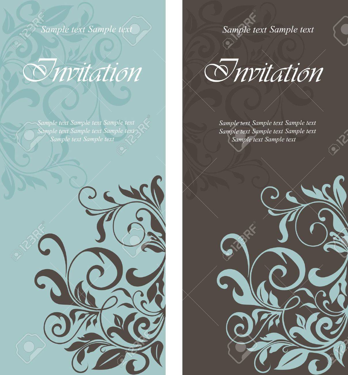 Beautiful Floral Invitation Cards Royalty Free Cliparts Vectors