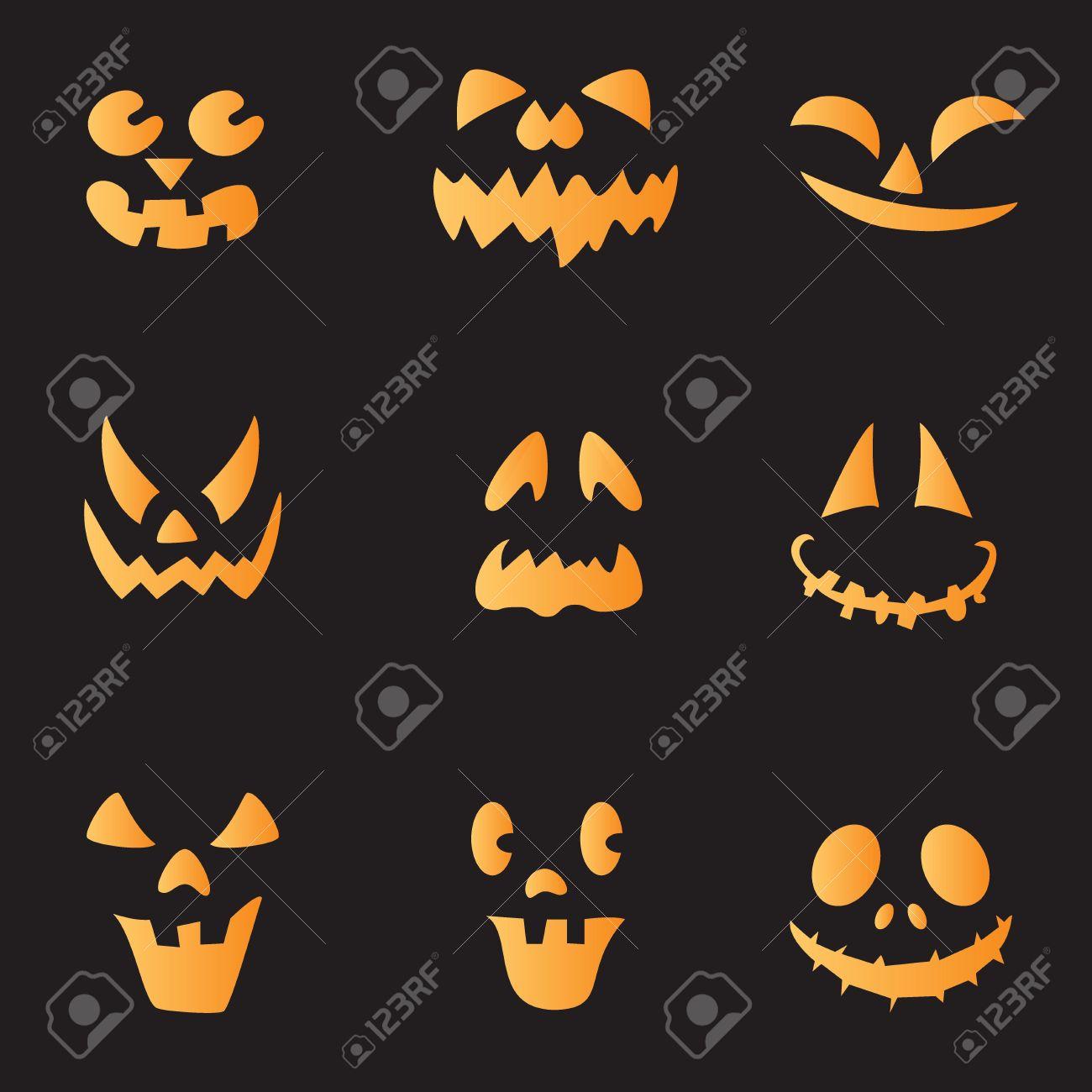 scary faces of halloween pumpkin vector stock vector 16125526 - Halloween Scary Faces