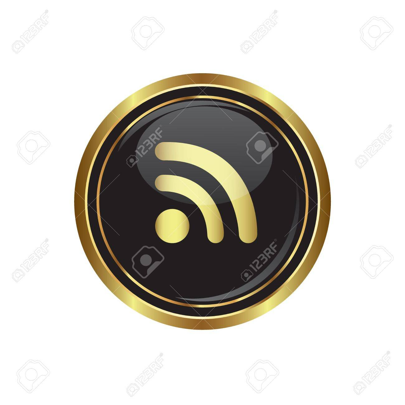 Rss icon on the black with gold round button  Vector illustration Stock Vector - 16710022