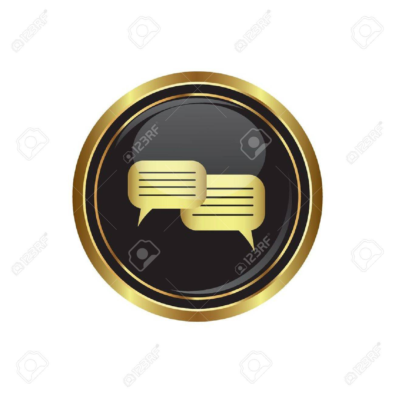Speech bubbles icon on the black with gold round button  Vector illustration Stock Vector - 16710021