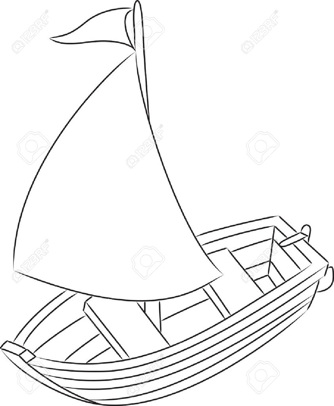sailboat outlined vector illustration royalty free cliparts