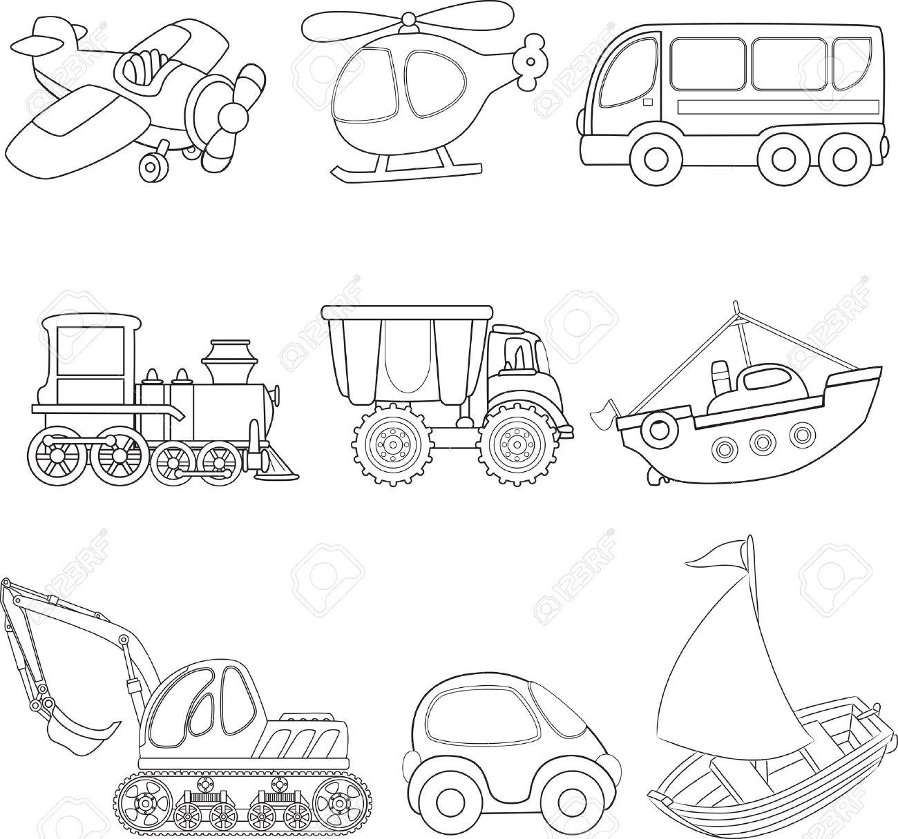 Livre De Coloriage De Dessin Anime De Transport Clip Art Libres De Droits Vecteurs Et Illustration Image 16710049